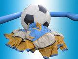 Bierbuik voetbal met boarding, bal en 8 pakken._