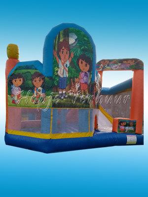 Springkussen Dora en Diego met glijbaan